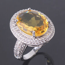 Sz6-Sz10!Young lady party Yellow Swarovski Crystal 18k white gold filled ring