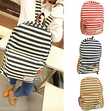Unisex Women Men Canvas Backpack School Bag Stripe Rucksack Bookbag Zipper
