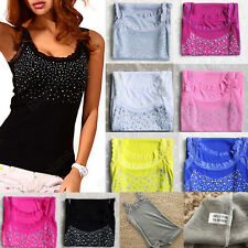 Summer Sexy Women's Rhinestone Beaded Lace Shining Vest Tank Tops T-shirt Blouse
