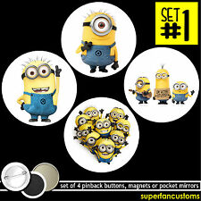 Despicable Me Set Of 4 Buttons or Magnets or Mirrors minion pinback badge #1359
