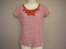 New Ladies M*S Red & White Striped Short Sleeved Bow Front Top 6 8 10 (IV)