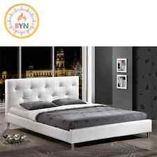 Barbara White Modern Bed with Crystal Button Tufting - Full Size