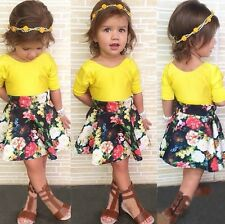 2015 Baby Girls Dress Solid T-shirt+Flower Skirt 2pcs Outfits Set 2-3-4-5-6-7Y