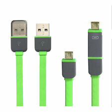 1M 2 in1 Flat Noodle Micro USB Charger Sync Data Cable For Htc Sumsang S4 S5