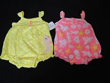 Carters 2PC Romper Set Infant Girls Sizes Baby Creeper One Piece Outfit Pink New