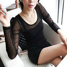 Women Sexy Mesh Sheer Bodycon Slim Mini Dress Party Evening Cocktail Clubwear