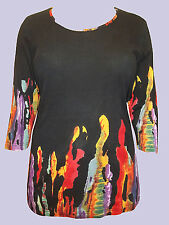 Ulla Popken BLACK Cotton Knit Flame Border Print Top Sizes UK 14/16 to 32/34 NEW