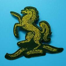 Gold Horse Unicorn Pony Iron on Sew Patch Applique Badge Embroidered Biker Army