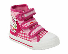 GIRLS HELLO KITTY PINK VELCRO FASTENING CANVAS SHOES HI TOP TRAINERS UK 6-12