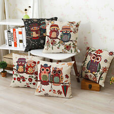 Vintage Cute Owl Cotton Linen Pillow Case Sofa Throw Cushion Cover Home Decor