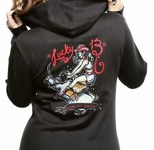 Lucky 13 Giddy Up Riding Whiskey Booze Black Juniors Hooded Zip Up Sweatshirt