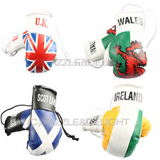 MINI BOXING GLOVES PAIR CAR MIRROR HANGING WORLD CUP FLAG CAR VAN ACCESSORY