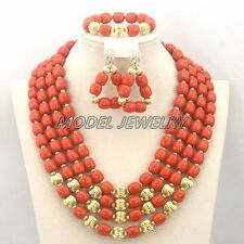 African Wedding Artificial Coral Beads Necklace Set,Fashion Woman Jewelry Set