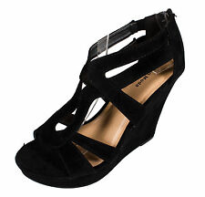 Lindy-66 Top Moda Women's Strappy Platform Wedge Sandal in Black Faux Suede