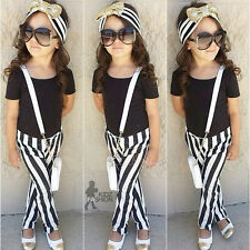 Toddler Girls Kid Fashion Clothing 2PCs Tops T-shirt & Trousers Outfits Age 1-7Y