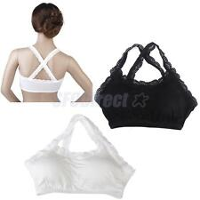 Sexy Womens Lace Trim Padded Sports Bra Bustier Crop Tops Bralette Cami Tank Top