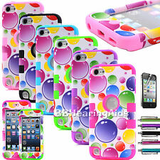 For iPod Touch 4th 5th Gen -HARD SOFT RUBBER HIGH IMPACT ARMOR CASE HYBRID COVER
