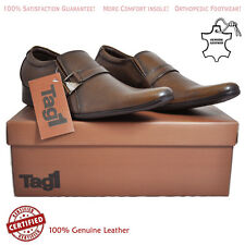 Mens Leather Slip On Formal Wear With Buckle Shoes Brown Color