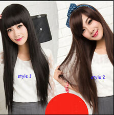 Fashion Women Sexy Long Straight With Bangs Healthy Natural Hair Wig Wigs+Gift