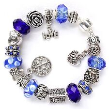 European charm bracelet Love Mom blue Murano beads Tree of Life gift for mother