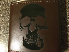 Custom Skull logo Engraved Leather Hand Dyed Stainless Steel Flask Wedding Gift