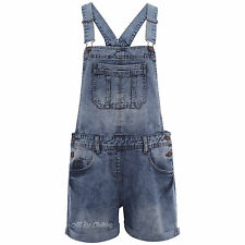 New In! Womens/Ladies Denim Stone Wash Shorts Dungarees sizes 8 10 12 14 16