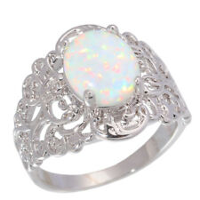 White Fire Opal Women Jewelry Gemstone Silver Ring Size 5/6/7/8/9/10/11 OJ6729