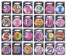 Adult's Small Birthday BADGES (Choice of Ages 18-60/General)(Party/Card/Gift)