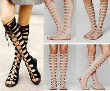 Womens Strappy Roman Gladiator Lace Up Knee High Sandals Flat Heel Summer Boots