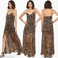 Women Leopard Chiffon Long Maxi Casual Backless Dress Spaghetti Strap Maxi Dress