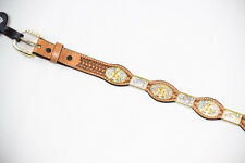 Western Scalloped Leather Belt w/Horse & Rider Concho - 7038 - Multiple Colors