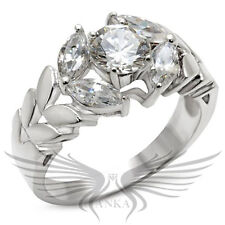 Brilliant Round Cubic Zircon CZ AAA 925 Sterling Silver Engagement Ring 30326