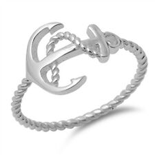 Anchor Rope Design Fashion Ring New .925 Sterling Silver Twisted Band Sizes 4-10