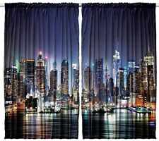 New York CURTAIN PANEL Set Seaport South Night NYC Harbor Living Bed Room Window