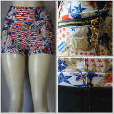 Fashion USA Flag Design Zipper Pocket Shorts Leggings Women Stretch Pants Sexy
