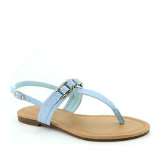 Yab Basic-2 T-Strap thong Flat Slingback Gladiator Chain Sandals -Ice Blue