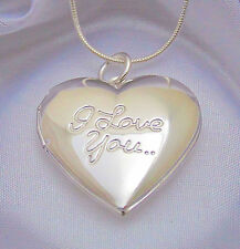 925 Sterling Silver I Love You Heart Locket Pendant Necklace Photo Gift Box
