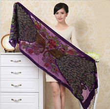 Hot Sale Women's Handbeaded Rectangle Silk Velvet Shawl/Scarf Peacocks