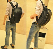 Cool Mens Black Faux Leather  Backpack Square Zipper Laptop Students Mens Bag