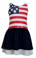Bonnie Jean Red White Blue 4th July American Flag  Girls Patriotic Dress 4-16