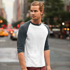 Mens 3/4 Sleeve Baseball T-Shirt Round Neck Contrast Sleeve Fashion Top By Anvil