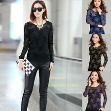 F Sexy Womens Fashion Korean Long Sleeve Sheer Tops Lace Floral T-Shirt Blouse