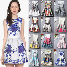 Fashion Women's Printing Sleeveless Bodycon Casual Party Evening Cocktail Dress