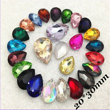 20*30mm Teardrop Rhinestones Point back Crystal Glass Chaton Strass 5ps