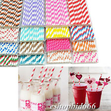 25pcs Striped paper dringking straw-rainbow mixed for party table decorations A+