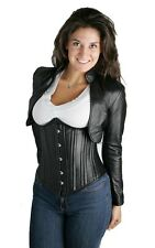 Genuine Lambskin Leather Bolero Jacket Cropped Corset Shrug Long Sleeves women