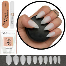 600 POINTED STILETTO FALSE NAILS - Full Cover Natural Opaque Tips FREE GLUE VIXI
