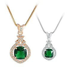 Eternal pendant!18K white/yellow Gold filled Emerald lady necklace pendant 18''