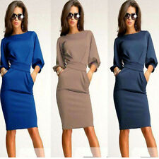 Sexy Womens OL 3/4 Sleeve Tunic Cocktail Party Evening Slim Bodycon Pencil Dress