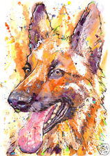 JOSIE P PRINT German Shepherd Alsatian Original Watercolour Dog Various Sizes